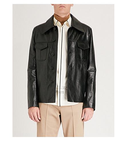 MAISON MARGIELA Button-up leather jacket (Black