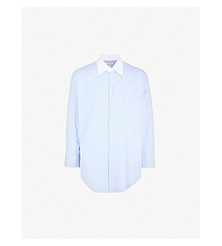 MAISON MARGIELA 条纹常规版型棉衬衫 (白色 + 蓝色