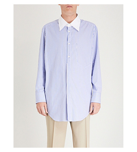 MAISON MARGIELA Striped regular-fit cotton shirt (White+blue