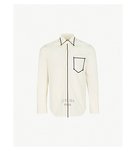 MAISON MARGIELA Grosgrain-trim regular-fit cotton shirt (Cream