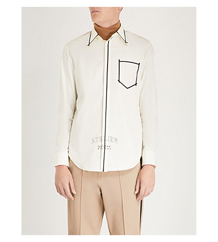 MAISON MARGIELA Grosgrain-trim regular-fit cotton shirt Cream Clearance Pay With Paypal 100% Authentic Online BqRAh