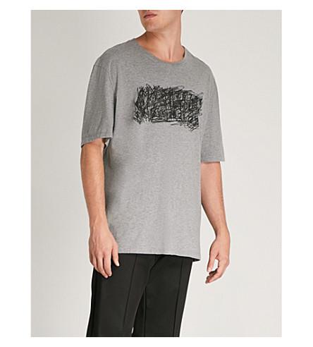 MAISON Camiseta logo de de melange de Gris algodón MARGIELA con estampado jersey w7A5qwr