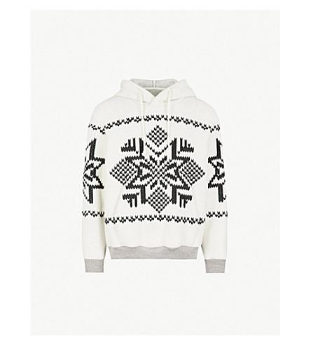 MAISON MARGIELA Embroidered cotton-fleece hoody (Ecru/black