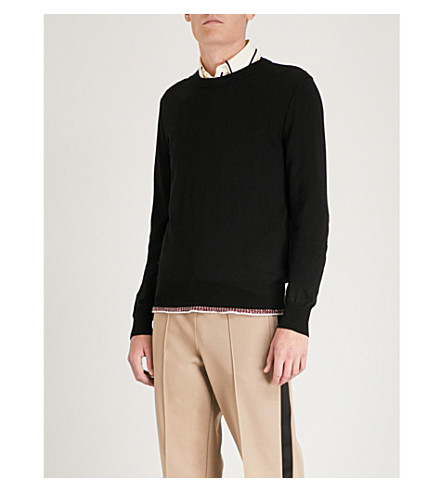 MAISON MARGIELA Contrast-hem wool and cotton-blend jumper (Black