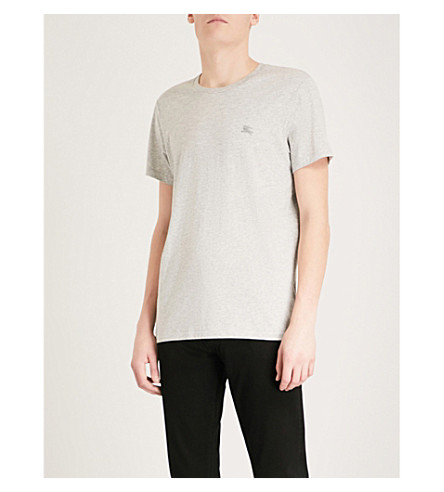 BURBERRY Logo-embroidered cotton-jersey T-shirt (Pale+grey+melange