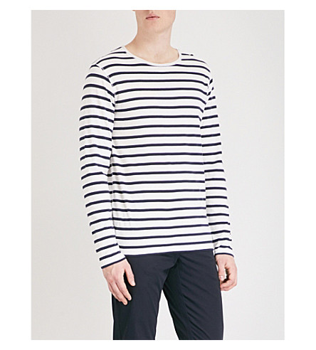 BURBERRY Hadworth striped cotton-jersey top (White+blue