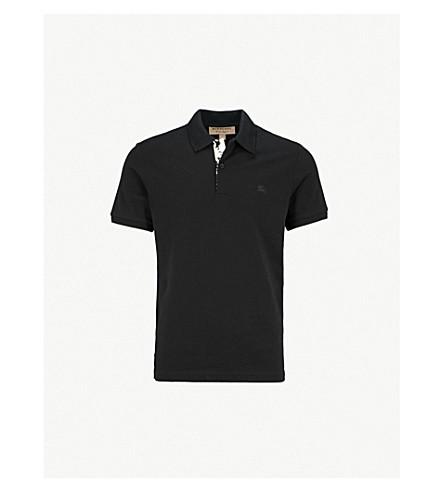 BURBERRY Bedford cotton-piqué polo shirt (Black