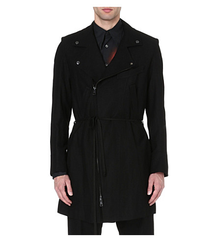 ANN DEMEULEMEESTER Biker wool-blend coat (Black