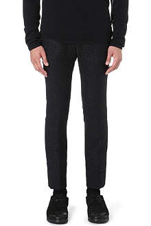 ANN DEMEULEMEESTER Diamond jacquard long-rise trousers