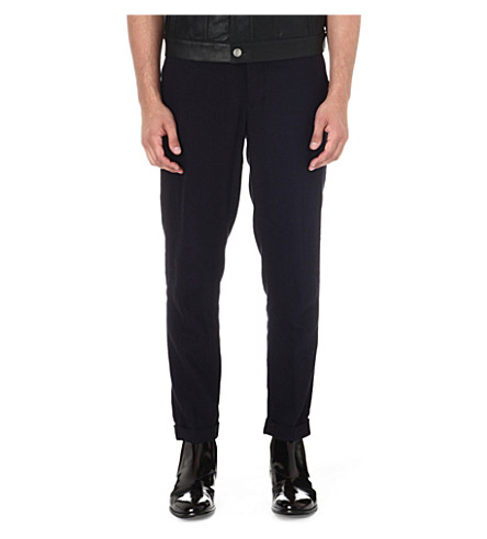 ANN DEMEULEMEESTER Laundered trousers (Navy
