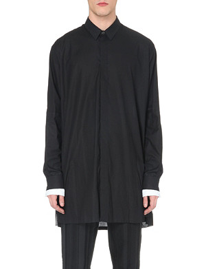 ANN DEMEULEMEESTER Loose-fit cuff-insert cotton shirt