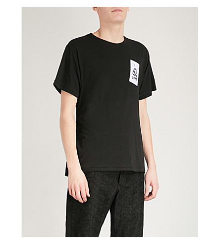 ANN DEMEULEMEESTER Slogan cotton-jersey t-shirt (Black+white
