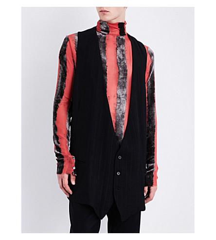 ANN DEMEULEMEESTER Striped woven waistcoat (Black
