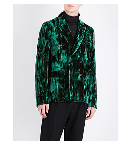 ANN DEMEULEMEESTER Double-breasted regular-fit crushed velvet jacket (Green