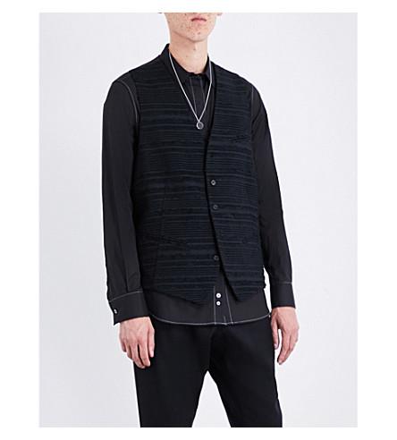 ANN DEMEULEMEESTER Striped textured sleeveless cotton waistcoat (Black