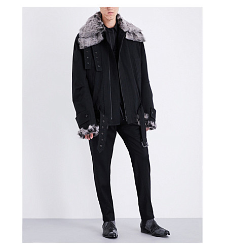 ANN DEMEULEMEESTER Fundamental shearling and wool-blend jacket (Black