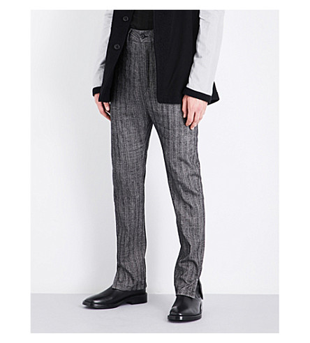 ANN DEMEULEMEESTER Herringbone-patterned tapered regular-fit linen and wool trousers (Black