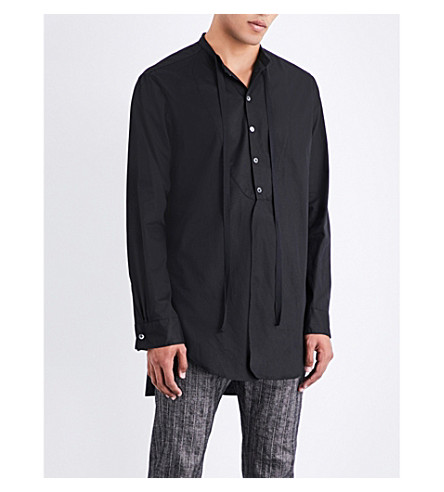 ANN DEMEULEMEESTER Longline loose-fit cotton shirt (Black
