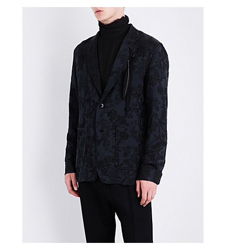 ANN DEMEULEMEESTER Feather-detail floral jacquard jacket (Black