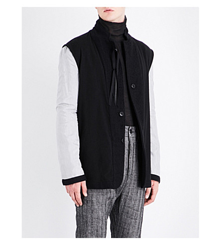 ANN DEMEULEMEESTER Contrast-sleeve stand-collar wool jacket (Black