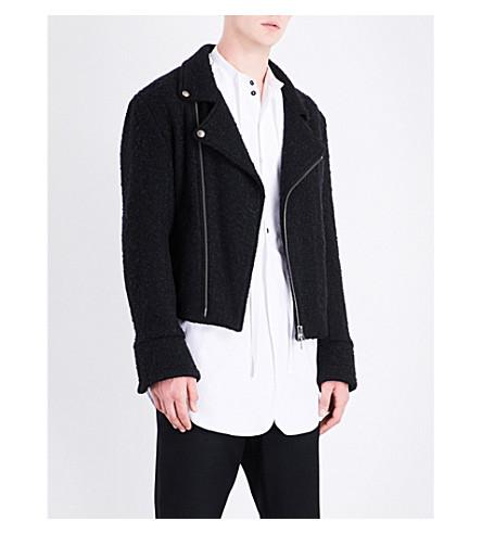 ANN DEMEULEMEESTER Biker-collar wool-blend jacket (Black