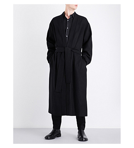 ANN DEMEULEMEESTER Shawl-lapel self-tie fleece-wool coat (Black