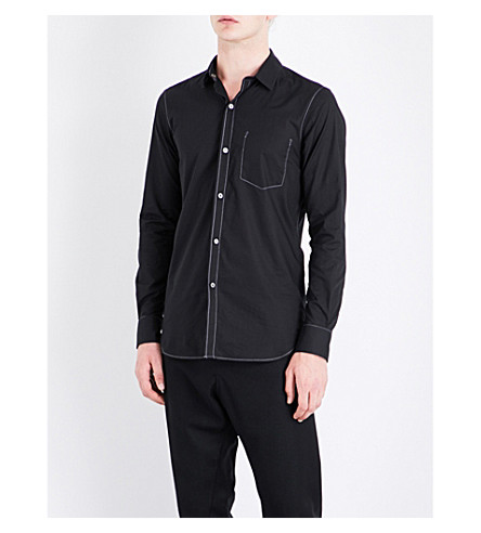 ANN DEMEULEMEESTER Topstitch-detail regular-fit cotton shirt (Black