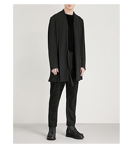 ANN DEMEULEMEESTER Shawl-lapel relaxed-fit crepe wrap jacket (Black