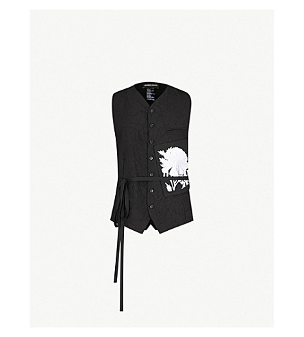 ANN DEMEULEMEESTER Patch-embroidered wool-blend vest (Black white