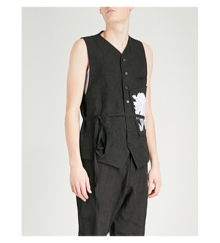 ANN DEMEULEMEESTER Patch-embroidered wool-blend waistcoat (Black+white