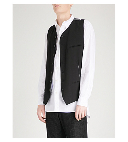 ANN DEMEULEMEESTER Single-breasted woven waistcoat (Black+white