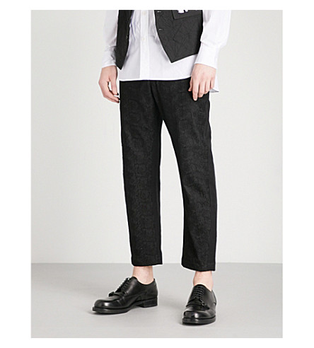 ANN DEMEULEMEESTER Textured tapered twill pants (Black