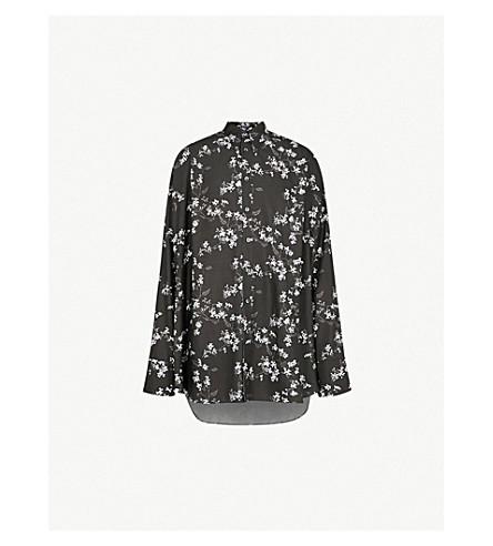 ANN DEMEULEMEESTER Floral-print oversized woven shirt (Black/white