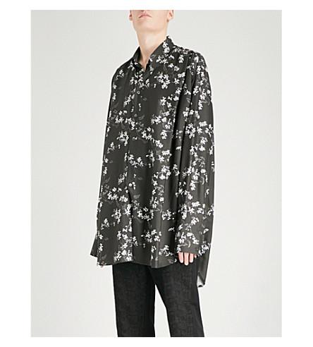 ANN DEMEULEMEESTER Floral-print oversized woven shirt (Black+white