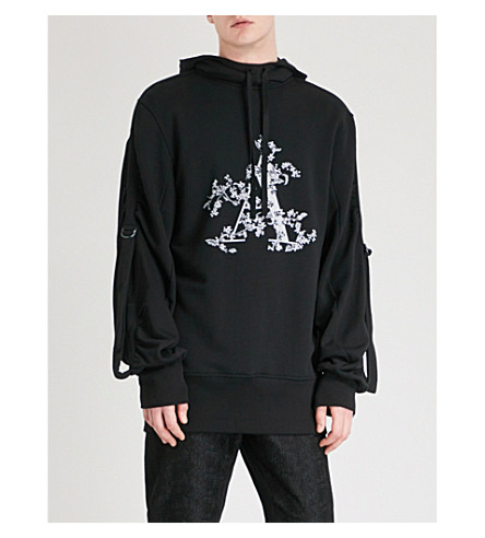 ANN DEMEULEMEESTER Floral-print cotton-jersey hoody (Black