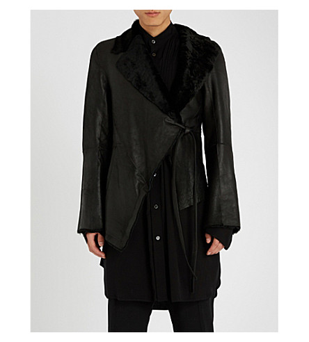 ANN DEMEULEMEESTER Waist-tie leather and shearling jacket (Amrita+black