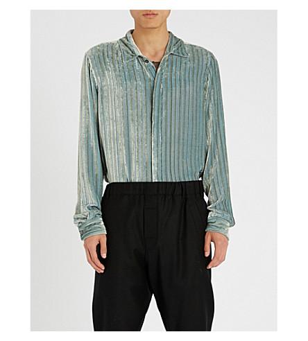 ANN DEMEULEMEESTER Regular-fit velvet-devoré shirt (Harlot+sky