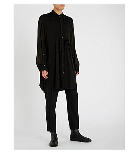 ANN DEMEULEMEESTER Pintuck-pleated regular-fit woven shirt (Black