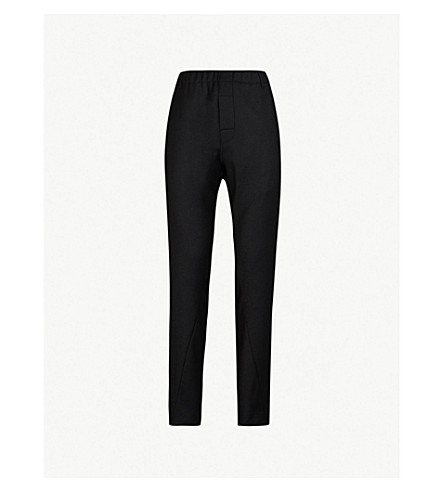 ANN DEMEULEMEESTER Elasticated-waist regular-fit wool-blend trousers (Black