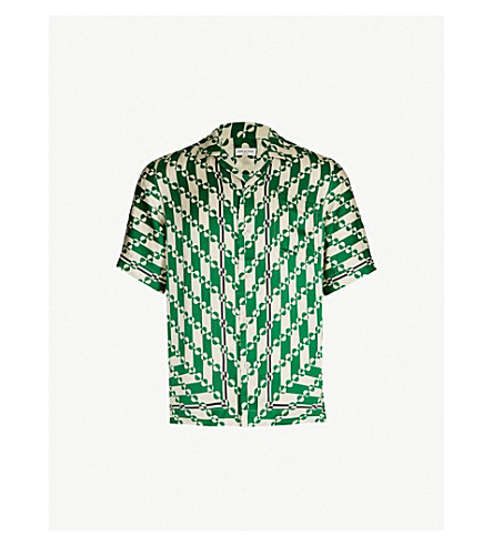 DRIES VAN NOTEN Graphic-pattern relaxed-fit satin shirt (Green