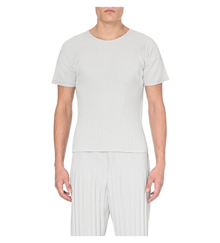 HOMME PLISSE ISSEY MIYAKE Short-sleeved pleated t-shirt (Light+grey