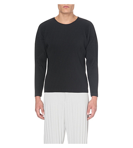 HOMME PLISSE ISSEY MIYAKE Pleated long-sleeved top (Black