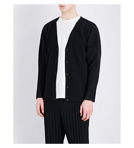 HOMME PLISSE ISSEY MIYAKE Pleated woven cardigan (Black