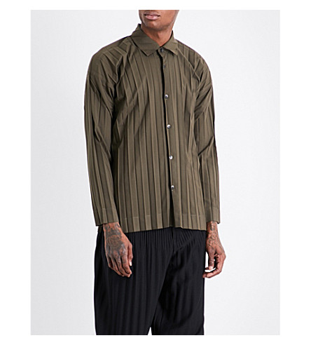 HOMME PLISSE ISSEY MIYAKE Regular-fit pleated shirt (Khaki