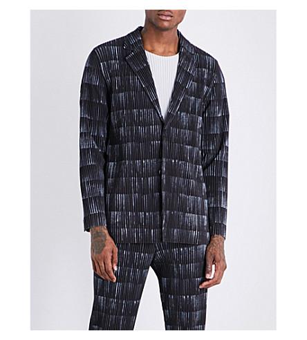 HOMME PLISSE ISSEY MIYAKE Multi-print pleated jacket (Grey+blk