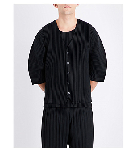 HOMME PLISSE ISSEY MIYAKE Pleated woven waistcoat (Black