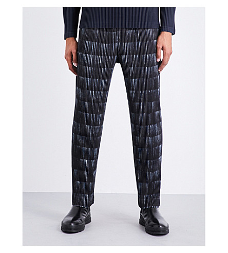 HOMME PLISSE ISSEY MIYAKE Multi-print pleated trousers (Grey+blk