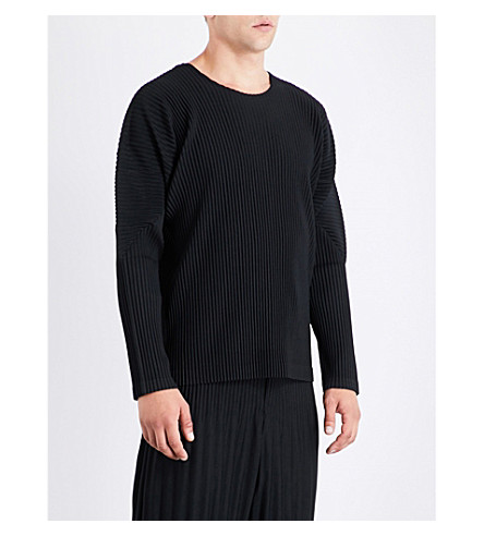 HOMME PLISSE ISSEY MIYAKE Pleated woven top (Black