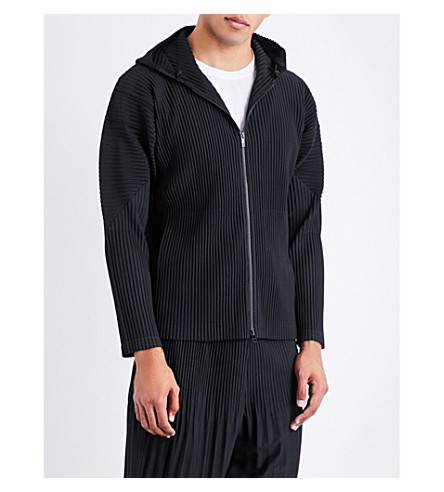 HOMME PLISSE ISSEY MIYAKE Hooded pleated jacket (Black