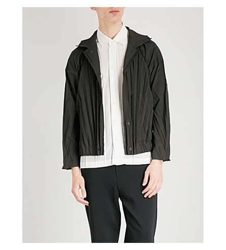 HOMME PLISSE ISSEY MIYAKE Collared pleated jacket (Charcoal+grey